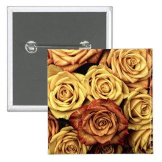 Romantic yellow Rose Square Button