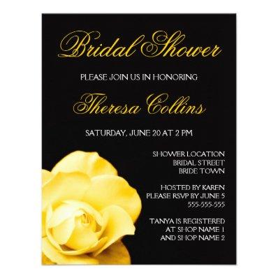 Romantic yellow rose wedding bridal shower invite