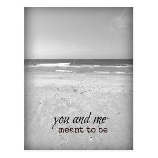 Romantic You and Me Beach Scene Postcard