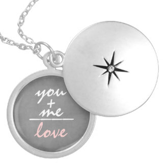 Romantic You +Me Equals Love Round Locket Necklace