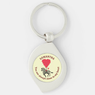 Romantic zebra and red heart personalized keychain