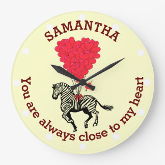 Romantic zebra and red heart personalized large clock