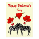 Romantic zebras  and heart Valentines Post Cards