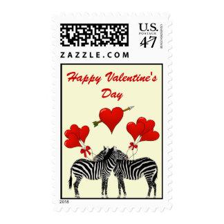 Romantic Zebras  love heart Valentine's Postage Stamp