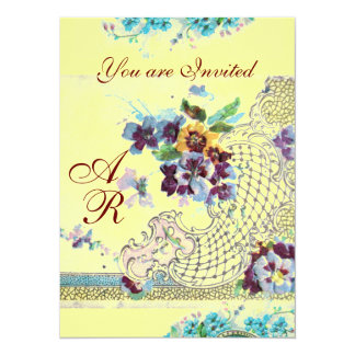 ROMANTİCA  2 MONOGRAM yellow 5.5x7.5 Paper Invitation Card