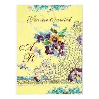 ROMANTİCA  2 MONOGRAM yellow,linen 5.5x7.5 Paper Invitation Card