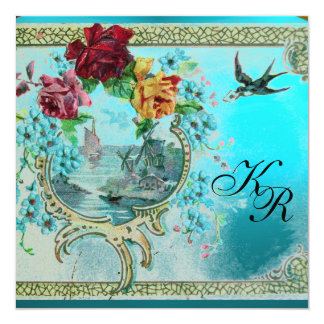 ROMANTİCA 3 BLUE AQUAMARINE MONOGRAM CARD