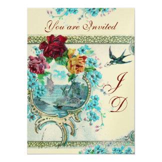 ROMANTİCA 3 ELEGANT GOLD BLUE WEDDING MONOGRAM 5.5X7.5 PAPER INVITATION CARD