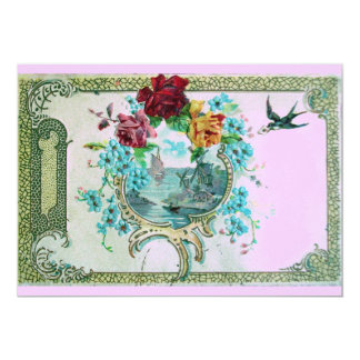 ROMANTICA 3 Floral Blue Pink Wedding Party 5x7 Paper Invitation Card