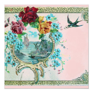 ROMANTICA 3 Floral Blue Pink Wedding Party 5.25x5.25 Square Paper Invitation Card