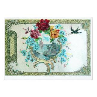 ROMANTICA 3 ,Floral Blue White Wedding Party 5x7 Paper Invitation Card