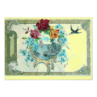 ROMANTICA 3 Floral Blue Yellow Wedding Party 5x7 Paper Invitation Card