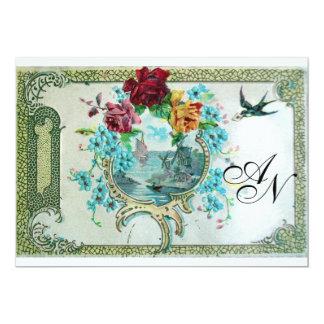 ROMANTİCA 3 MONOGRAM,Blue White Wedding Party 5x7 Paper Invitation Card