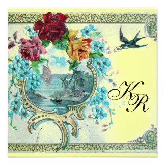 ROMANTİCA 3 MONOGRAM ,Blue Yellow Wedding 5.25x5.25 Square Paper Invitation Card