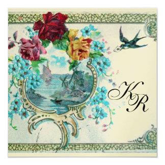 ROMANTİCA 3 MONOGRAM,champagne metallic paper 5.25x5.25 Square Paper Invitation Card