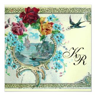 ROMANTİCA 3 MONOGRAM, ice metallic paper 5.25x5.25 Square Paper Invitation Card