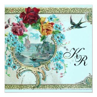 ROMANTİCA 3 MONOGRAM Pink Blue Wedding Card