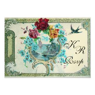ROMANTİCA 3 MONOGRAM RSVP,gold metallic paper 3.5x5 Paper Invitation Card