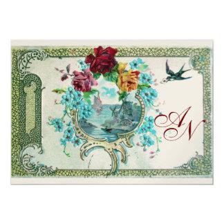 ROMANTİCA 3 MONOGRAM white, champagne metallic 5x7 Paper Invitation Card