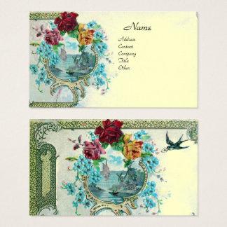 ROMANTICA Antique Flowers Roses,Floral Cream Pearl Business Card
