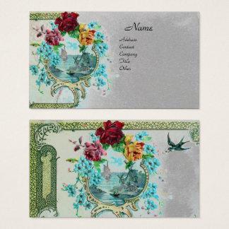 ROMANTICA Antique Flowers Roses,Floral Grey Paper Business Card