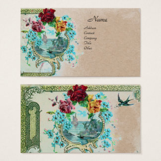 ROMANTICA Antique Flowers Roses,Floral Kraft Paper Business Card