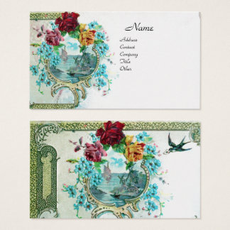 ROMANTICA Antique Flowers Roses,Floral White Pearl Business Card
