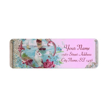 Beach Themed ROMANTICA,BLUE PINK BLUE FLORAL BEACH WEDDING LABEL
