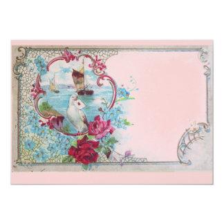 ROMANTICA,Elegant Classy Blue Pink Wedding Party 5x7 Paper Invitation Card