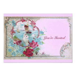 ROMANTICA,Elegant Classy Wedding Party, pink blue 5x7 Paper Invitation Card