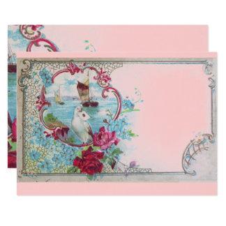 ROMANTICA Elegant Floral Blue Pink Wedding Party Card