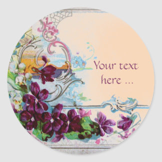 ROMANTICA /ELEGANT FLORAL /PANSIES,SNOWDROPS Pink Classic Round Sticker