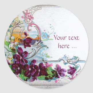 ROMANTICA /ELEGANT FLORAL /PANSIES,SNOWDROPS White Classic Round Sticker