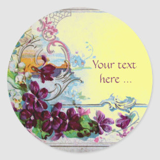 ROMANTICA /ELEGANT FLORAL/PANSIES,SNOWDROPS Yellow Classic Round Sticker