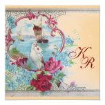 ROMANTİCA ELEGANT FLORAL WEDDING  MONOGRAM CARD