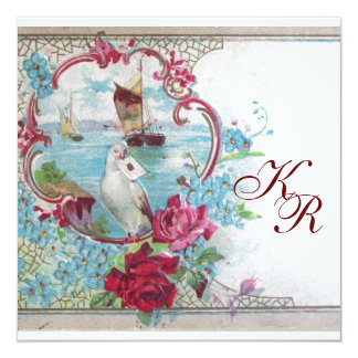 ROMANTİCA ELEGANT FLORAL WEDDING  MONOGRAM 5.25X5.25 SQUARE PAPER INVITATION CARD