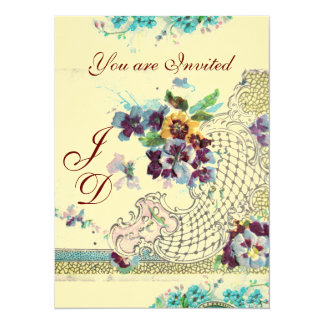 ROMANTICA Floral Blue Pink Cream Wedding Pansies Card