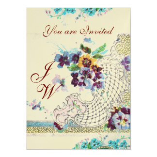 ROMANTICA Floral Blue Pink White Wedding Monogram Card