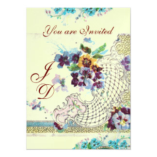 ROMANTICA Floral Blue Pink White Wedding Pansies Card