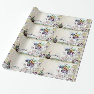 ROMANTİCA Floral,Elegant Flower Basket,Pansies Wrapping Paper