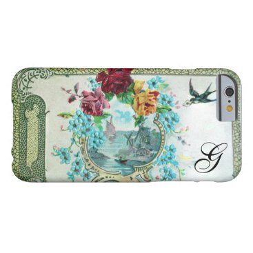 Beach Themed ROMANTICA FLORAL MONOGRAM ROSES AND FLYING BIRD BARELY THERE iPhone 6 CASE