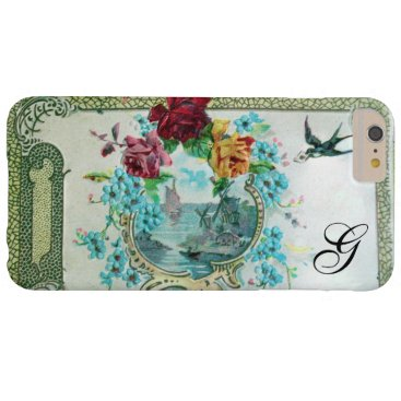 Beach Themed ROMANTICA FLORAL MONOGRAM ROSES AND FLYING BIRD BARELY THERE iPhone 6 PLUS CASE