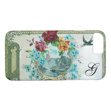 Beach Themed ROMANTICA FLORAL MONOGRAM ROSES AND FLYING BIRD iPhone 7 CASE