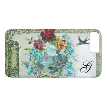 Beach Themed ROMANTICA FLORAL MONOGRAM ROSES AND FLYING BIRD iPhone 7 PLUS CASE