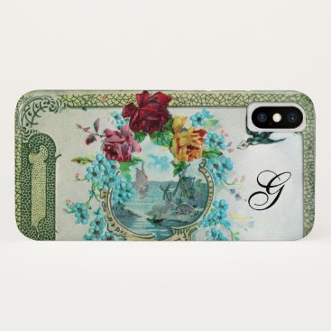 Beach Themed ROMANTICA FLORAL MONOGRAM ROSES AND FLYING BIRD iPhone X CASE