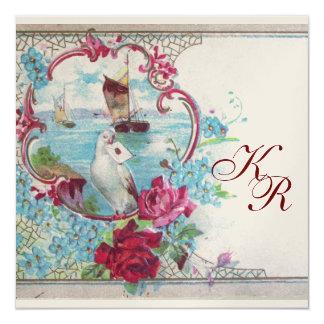 ROMANTİCA  MONOGRAM ,champagne metallic paper 5.25x5.25 Square Paper Invitation Card