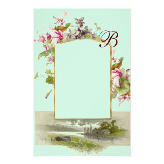 ROMANTİCA MONOGRAM / CYCLAMENS,pink green blue Stationery