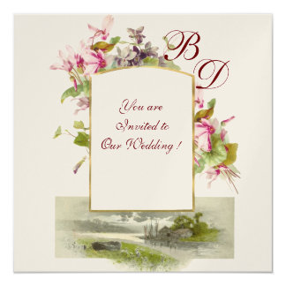 ROMANTİCA MONOGRAM /CYCLAMENS,pink green champagne Card