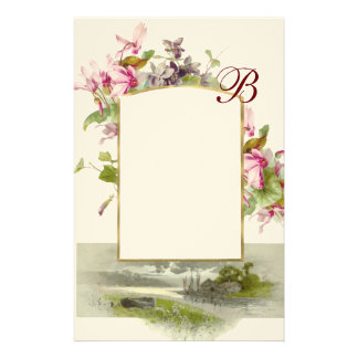 ROMANTİCA MONOGRAM / CYCLAMENS,pink green cream Stationery