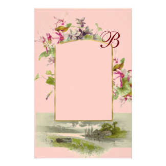 ROMANTİCA MONOGRAM / CYCLAMENS,pink green Stationery